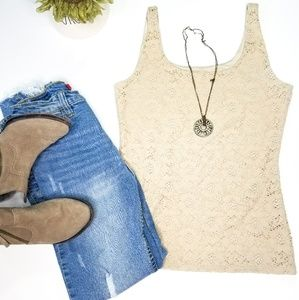 WHBM beige lace tank top